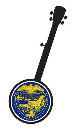 A typical five string banjo in silhouette on a white background woth the Icon from the state seal of Oregon