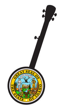 A typical five string banjo in silhouette on a white background woth the Icon from the state seal of Idaho Иллюстрация