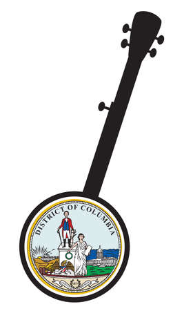 A typical five string banjo in silhouette on a white background woth the Icon from the state seal of Washington D.C.