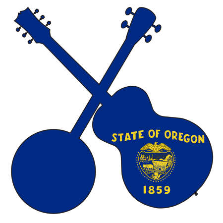 A typical four string banjo in silhouette with an acoustic guitar over the Oregon state flag on a white background