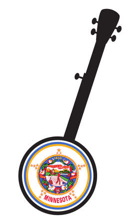 A typical five string banjo in silhouette on a white background woth the Icon from the state seal of Minnesota 向量圖像