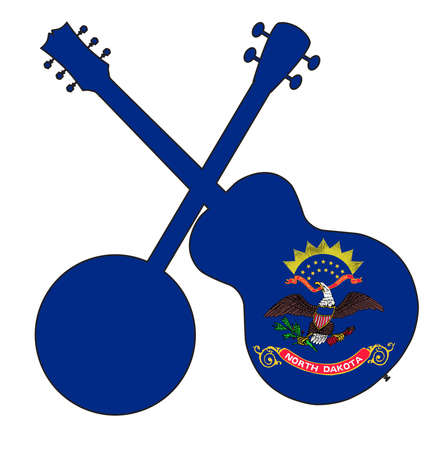A typical four string banjo in silhouette with an acoustic guitar over the North Dakota state flag on a white background