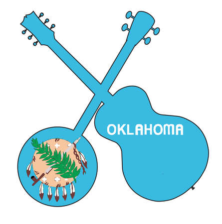 A typical four string banjo in silhouette with an acoustic guitar over the Oklahoma state flag on a white background
