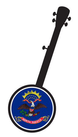 A typical five string banjo in silhouette on a white background woth the Icon from the state seal of North Dakota