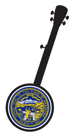 A typical five string banjo in silhouette on a white background woth the Icon from the state seal of Nebraska
