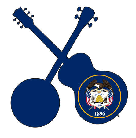 A typical four string banjo in silhouette with an acoustic guitar over the Utah state flag on a white background 向量圖像