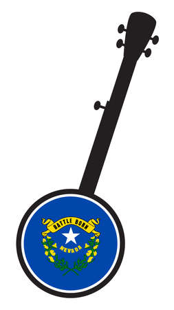 A typical five string banjo in silhouette on a white background woth the Icon from the state seal of Nevada