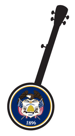 A typical five string banjo in silhouette on a white background woth the Icon from the state seal of Utah 向量圖像