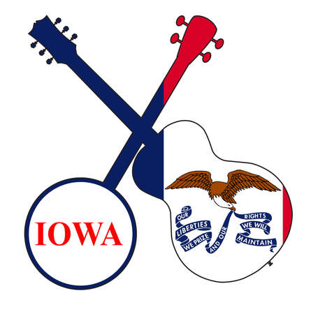 A typical four string banjo in silhouette with an acoustic guitar over the Iowa state flag on a white background
