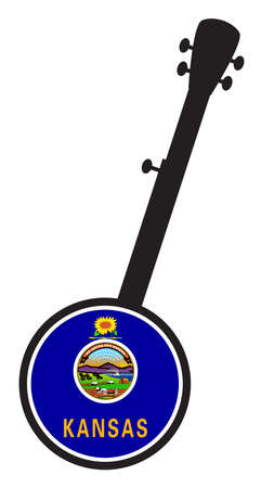 A typical five string banjo in silhouette on a white background woth the Icon from the state seal of Kansas 向量圖像