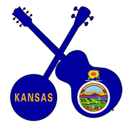 A typical four string banjo in silhouette with an acoustic guitar over the Kansas state flag on a white background