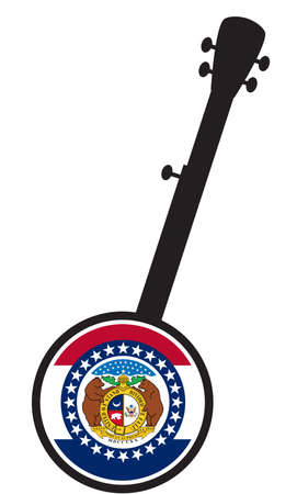 A typical five string banjo in silhouette on a white background woth the Icon from the state flag of Missouri