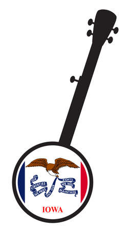 A typical five string banjo in silhouette on a white background woth the Icon from the state flag of Iowa