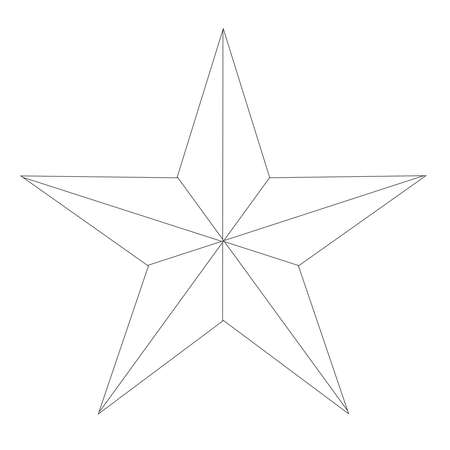 Samotna gwiazda Teksasu w biało-czarnym konturze na białym tle