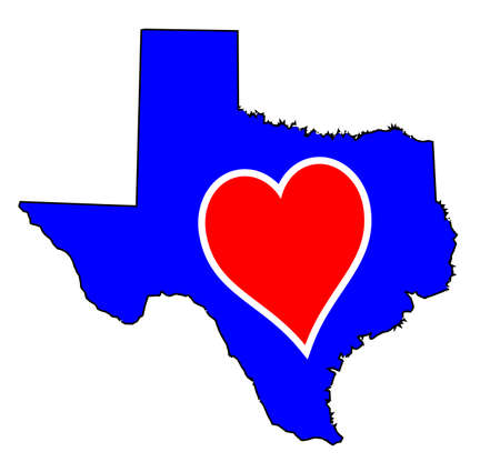 Outline map of Texas in red white and blue with love heart motif
