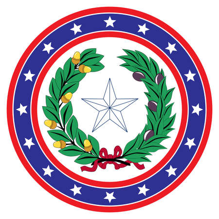 A red white and blue star spangled circle with Texan icon background over a white copy space background Ilustracja