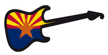 An original solid body electric guitar isolated over white with the Arizona state flag