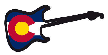 An original solid body electric guitar isolated over white with the Colorado state flag