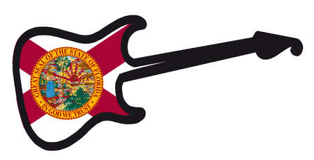 An original solid body electric guitar isolated over white with the Florida flag