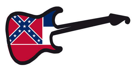 An original solid body electric guitar isolated over white with the Mississippi flag Illustration