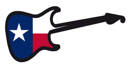 An original solid body electric guitar isolated over white with the Texas flag Illustration