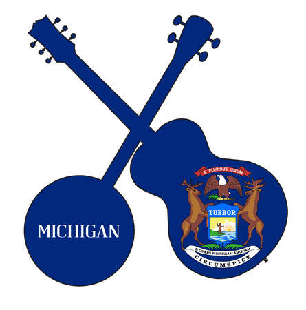 A typical four string banjo in silhouette with an acoustic guitar over the Michigan state flag on a white background