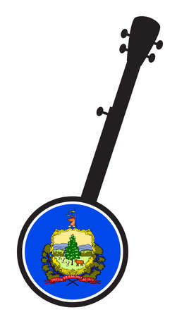 A typical five string banjo in silhouette on a white background woth the Icon from the state Flag of Vermont