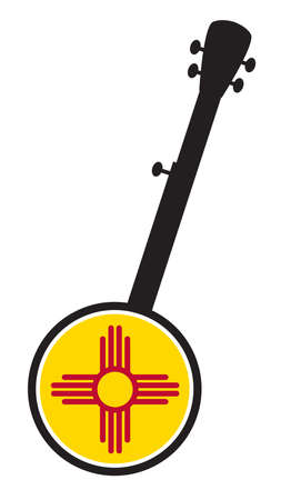 A typical five string banjo in silhouette on a white background woth the Icon from the state Flagl of New Mexico