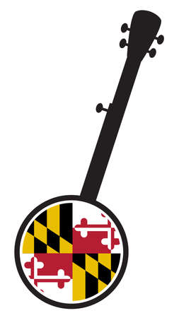 A typical five string banjo in silhouette on a white background woth the Icon from the state Flagl of Maryland