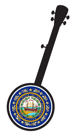 A typical five string banjo in silhouette on a white background woth the Icon from the state Flagl of New Hampshire  イラスト・ベクター素材