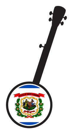 A typical five string banjo in silhouette on a white background woth the Icon from the state Flag of West Virginia  イラスト・ベクター素材