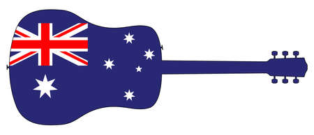 A typical acoustic guitar silhouette isolated over a white background with a Australia flag Foto de archivo - 132509073