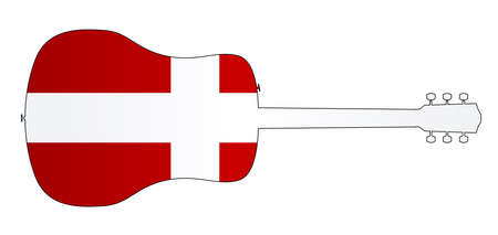 A typical acoustic guitar silhouette isolated over a white background with a Denmark flag