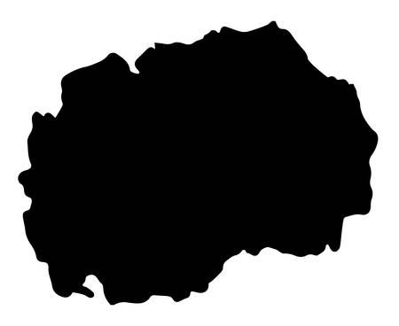 Silhouette map of Macedonia isolated over a white background