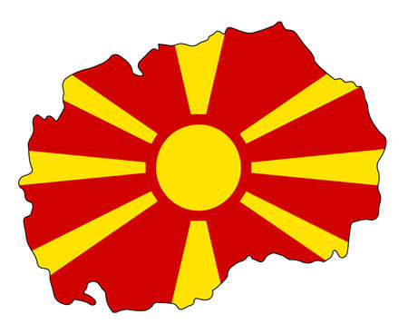 Outline map of Macedonia over a white background with Flag Standard-Bild - 132617485