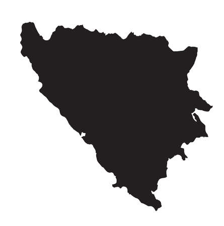 Isolated silhouette map of Bosnia and Herzegovina over a white background