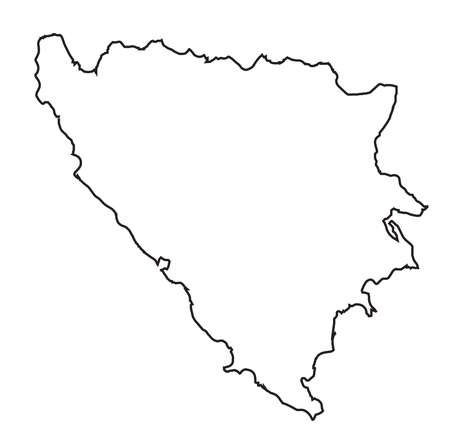 Isolated outline map of Bosnia and Herzegovina over a white background
