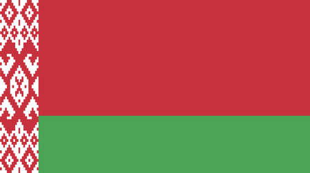 The national flag of Belarus in red white and green