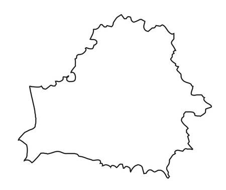 An isolated outline map of the country of Belarus