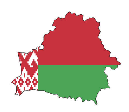 An isolated silhouette outline map of the country of Belarus with flag on white background  イラスト・ベクター素材