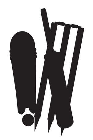 A set of cricket stumps bat and ball in black silhouette isolated on a white background