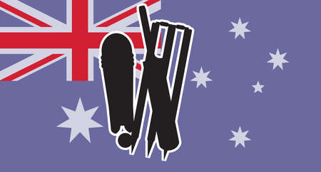 The flag of Australia with typical cricket icons in silhouette