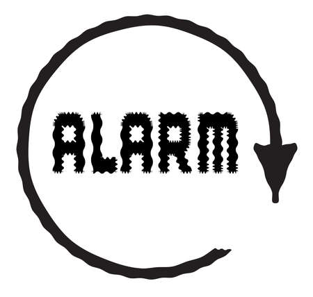 A circle and arrow signifying a clock with the text ALARM in distorted text on a white background