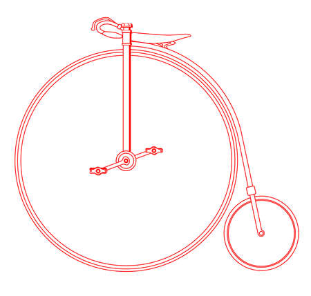 A typical penny farthing bicycle in red outline over a white background.