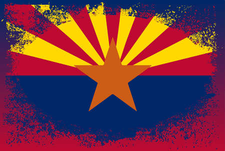 The flag of the USA state of Arizona with a grunge oval Ilustración de vector