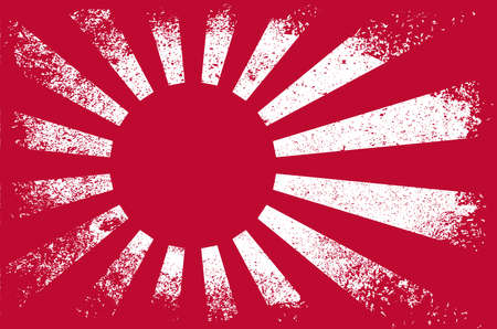 A heavy grunge version of the Japanese rising sun Flag
