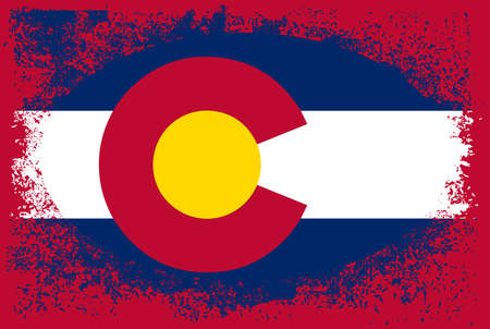 The flag of the USA state of Colorado with a grunge oval