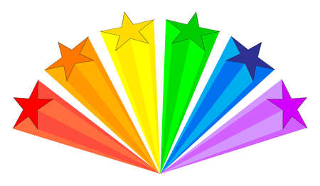 An aray of stars with an LGBT trans theme of color rays trailing on a white background Illustration