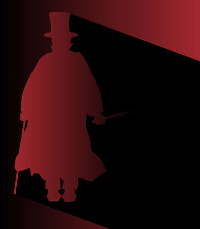 Jack the Ripper in silhouette over a dark background. Ilustracja