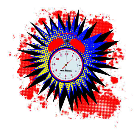 A comic cartoon style alarm clock wake up explosion over a white background
